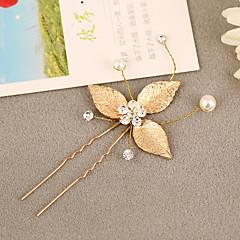 Femme Strass / Laiton / Alliage / Imitation de perle Casque-Mariage Epingle à Cheveux 1 Pièce Argent / Blanc