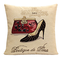 Linen Pillow Cover/Case ,  Woven Traditional/Classic Red Handbag and High Heel  Feature