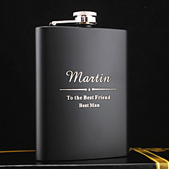 Personalized Stainless Steel 8-oz Black Hip Flasks