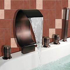 Antik Római kád Vízesés / széles spary / Kézi zuhanyzót tartalmaz with  Kerámiaszelep Két fogantyúval öt lyuk for  Olajjal kezelt bronz ,