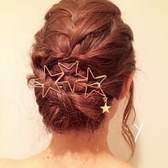 European Style Gold Star Shape Hair Clip Barrette Pins for Lady Casul Hair Jewelry