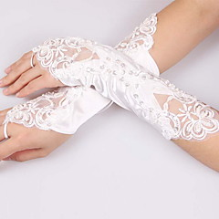 Elbow Length Fingerless Glove Polyester Bridal Gloves / Party/ Evening Gloves Spring / Summer /  White Sequins