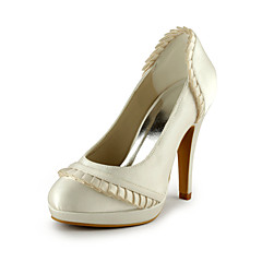 Women's Spring Summer Fall Silk Wedding Dress Party & Evening Stiletto Heel Ruched Ivory White