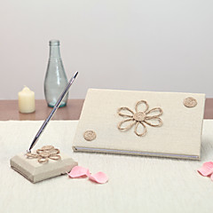 Linen Garden Theme Floral ThemeWithBow Guest Book Pen Set