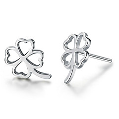 Fashion Hollow Lucky Clover Silver Rose Gold Earrings(Two color optional)
