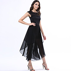 Women's Party/Cocktail Dress,Solid Round Neck Maxi Short Sleeve Black Summer