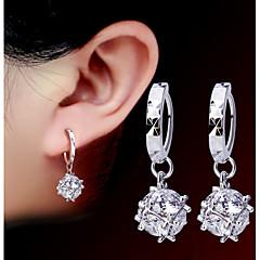 Women 925 Fine Silver Tassl Drop Zircon Earrings for Wedding Party