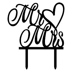 Mr&Mrs Heart Shape Word Cake Topper