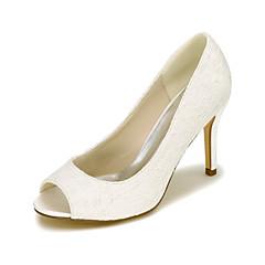 Γυναικεία παπούτσια-Τακούνια-Γάμος / Πάρτι & Βραδινή Έξοδος-Τακούνι Στιλέτο-Με Τακούνι / Peep Toe-Μετάξι-Μαύρο / Μπλε / Ροζ / Ιβουάρ /