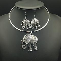Κολιέ / Σκουλαρίκια κοσμήματα πολυτελείας Προσομειωμένο διαμάντι Circle Shape Animal Shape Ελέφαντας Ασημί Κολιέ Cercei ΓιαΚαθημερινά
