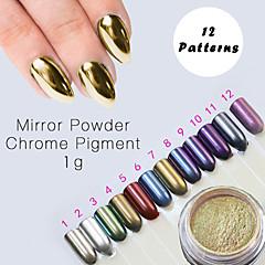 12 couleur poussière de poudre de pigment en poudre miroir chrome or ultrafine ongles paillettes ongles paillettes clou décorations d'art