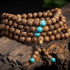108*8mm Natural Sandalwood Buddhist Wenge Prayer Beads Bracelet Weed Turquoise Bangle Women Men Jewelry Wholesale