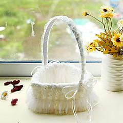 לב צורת התחרה לבן פרח קישוט סל למסיבת חתונה (17 * 24cm)