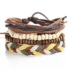 4pcs/set Punk Men's Bracelet PU Leather Bracelet Adjustable Beads Multilayer for Men Fashion Jewelry Christmas Gifts