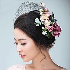 Mulheres Cetim Linho Capacete-Casamento Ocasião Especial Fascinador Chapéus Véus de Rede 1 Peça