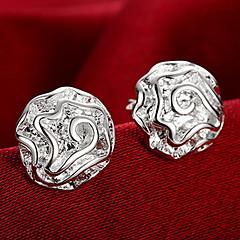 セクシー ファッション あり 純銀製 フラワー ローズ シルバー ジュエリー のために 結婚式 パーティー 日常 カジュアル 1ペア