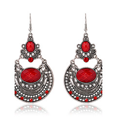 2016 New Arrival Ethnic Style Long Dangle Earrings Vintage Red Rhinestone Hollow Carved Bohemian Earrings Women Jewelry