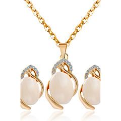 Mücevher Kolyeler / Kolczyki Kolye / Küpe Düğün / Parti / Günlük 1set Kadın Altın Düğün Hediyeleri