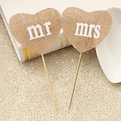 Set of 2 Rustic Wedding Decoration Natural Burlap Jute Heart Mrs Mr Party Food Picks