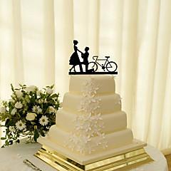 Décorations de Gâteaux Non personnalisée Couple classique Acrylique Mariage Fleurs Noir Thème classique 1 Boîte à cadeau