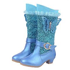Dívčí Boty Módní obuv Třpytky mikrovlákno Podzim Zima Svatební Ležérní Šaty Módní obuv Třpytivé flitry Zip Nízký podpatekTmavomodrá