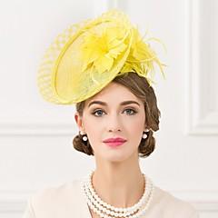Mulheres Penas Linho Capacete-Casamento Ocasião Especial Casual Fascinador Chapéus 1 Peça