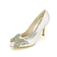 Damen-High Heels-Hochzeit / Party & Festivität-Seide-Stöckelabsatz-Absätze / Spitzschuh-Blau / Lila / Rot / Elfenbein / Weiß / Silber /