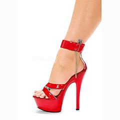 Feminino-Sandálias-Plataforma / Inovador-Salto Agulha-Vermelho-Couro Envernizado / Materiais Customizados-Casamento / Social / Festas &