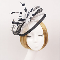 Women's Organza Headpiece-Wedding Tulle Net Fascinators with Feather Headband Hat