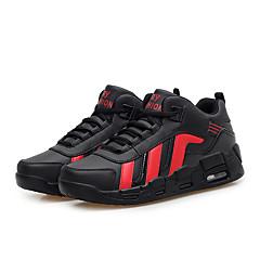 Herren-Sneaker-Sportlich-PU-Flacher Absatz-Komfort / Rundeschuh-Schwarz / Weiß / Schwarz und Rot
