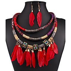 Schmuckset Halskette / Ohrringe Sexy Modisch Europäisch Schwarz Rot Blau Halsketten Ohrringe Für Hochzeit Party Alltag Normal 1 Set
