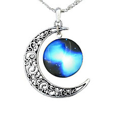 Women's Pendant Necklaces Moon Gemstone Alloy Fashion European Galaxy Black/Sky Blue Red Blue Jewelry ForParty Halloween Gift Daily Sport