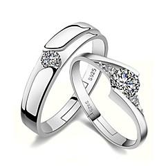 Anéis de Casal Gema Prata de Lei Strass imitação de diamante Formato de Coração Prata Jóias Casamento Festa Diário Casual 1 par