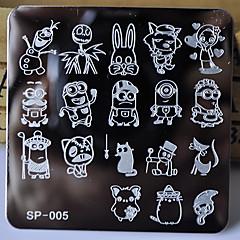 nouveau clou modèle manucure estampage plaques personnages de dessins animés conçoit le transfert de disque d'image