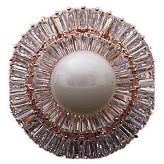 Femme Broche Bijoux de Luxe bijoux de fantaisie Perle Zircon Forme de Cercle Forme Géométrique Bijoux Pour Quotidien