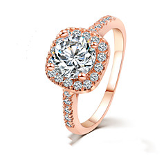 Inlaid Zircon Fashion Jewelry Square Diamond Bridal Jewelry Engagement Rings