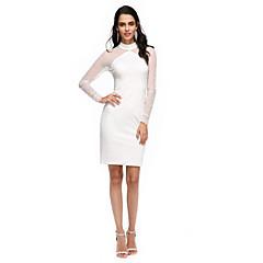 TS Couture® Cocktailparty Jurk - Doorzichtig Strak/kolom Hoge nek Tot de knie Tule / Jersey met Plooien