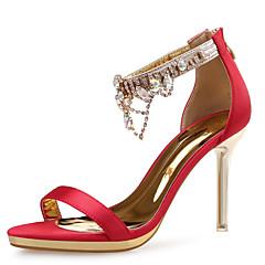 Women's Sandals Novelty Silk Glitter Leather Wedding Dress Party & Evening Stiletto Heel Rhinestone Crystal Sparkling Glitter ZipperBlack