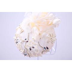 成人用 ラインストーン 人造真珠 フラックス シフォン かぶと-結婚式 パーティー 屋外 ハット 1個