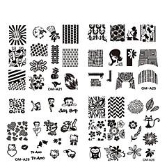 Flor - Dedo / Dedo del Pie - Otras Decoraciones - Metal - 10pcs nail plate - 6.2cmX6.2cm each piece - (cm)