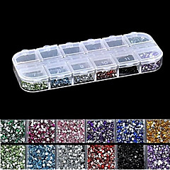 2500pcs 2mm runde 12-in-1 Acrylrhinestonenagelkunstdekoration