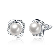 Stud Earrings Pearl Zircon Silver Plated Alloy Silver Jewelry Wedding Party Daily 1 pair