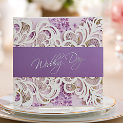 Personalized Tri-Fold Wedding Invitations Invitation Cards Engagement Party Cards-50 Piece/Set Artistic Style Hard Card Paper Bows