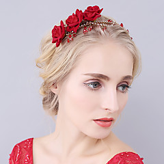 Vrouwen Bergkristal Kristallen Fluweel Helm-Bruiloft Speciale gelegenheden Tiara's Hoofdbanden Bloemen 1 Stuk