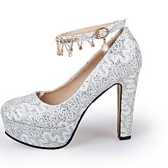 Dame-Glitter-Tykk hæl Blokker hælenHøye hæler-Bryllup Fritid Fest/aften-Gull Hvit Rød