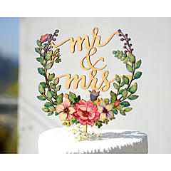 Mr & Mrs Wedding Cake Topper Printed with Floral Wreath
