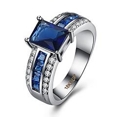 指輪 キュービックジルコニア ジルコン 銅 チタン鋼 模造ダイヤモンド ブルー ジュエリー 日常 カジュアル 1個
