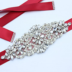 Satin Wedding Party/ Evening Dailywear Sash-Beading Appliques Rhinestone Imitation Pearl Women's 98 ½in(250cm)Beading Appliques