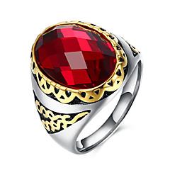 指輪 ジェムストーン ステンレス鋼 チタン鋼 ガラス ファッション レッド ジュエリー 日常 カジュアル 1個