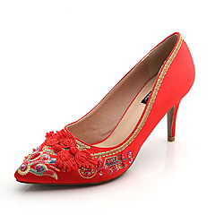 Women's Heels Other Silk Fabric Wedding Dress Stiletto Heel Stitching Lace Others Red